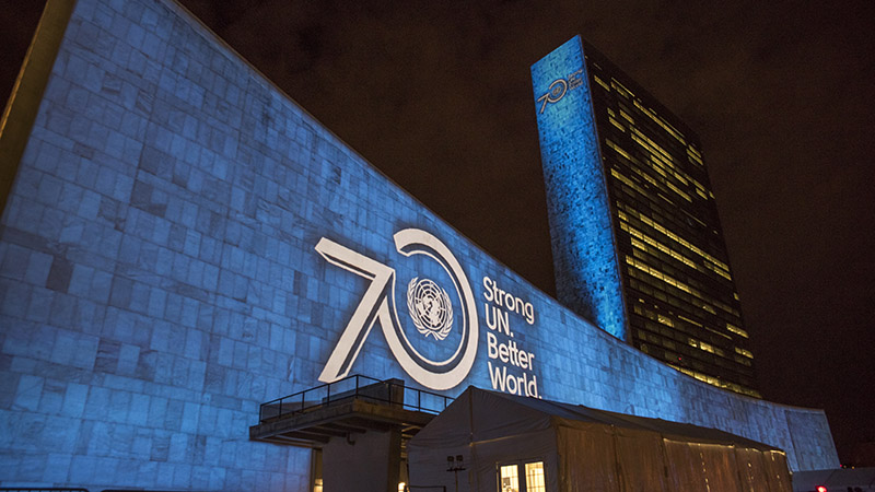 Projections and peoples' voices to celebrate UN70 and visually depict the 17 Global Goals (Pic: UN Photos)