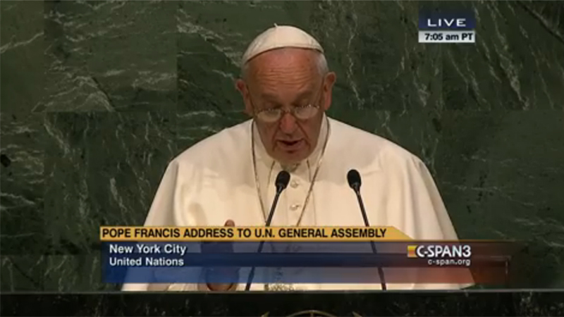 Pope Francis is the fifth pontiff to visit the United Nations in New York (screengrab /c-span)