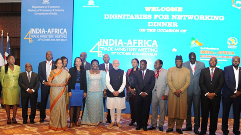 Indian PM Narendra Modi poses with African ministers at the end of their meeting (Pic: Narendra Modi/Flickr)