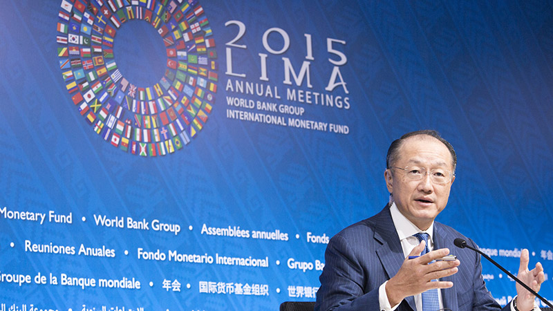 World Bank chief Jim Kim addresses the press ahead of the 2015 annual meeting in Lima, Peru (Pic: World Bank/Flickr)