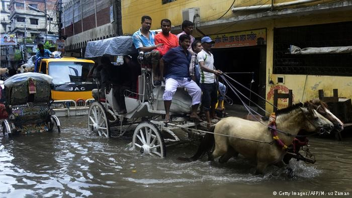 A flooded street in Dhaka