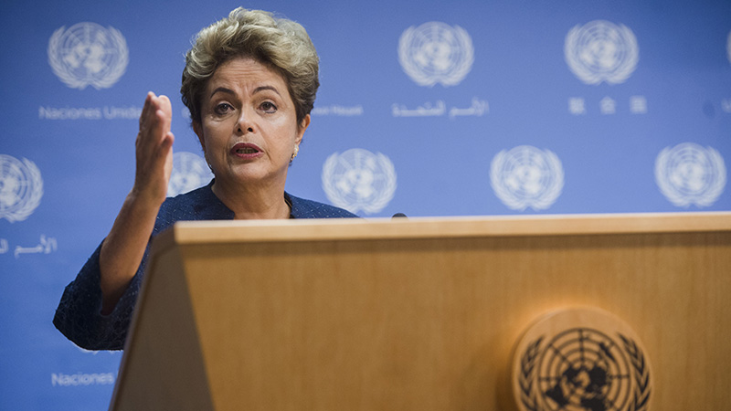 President Dilma Rousseff briefs the press at the United Nations in New York on Sunday (credit: UN photo)