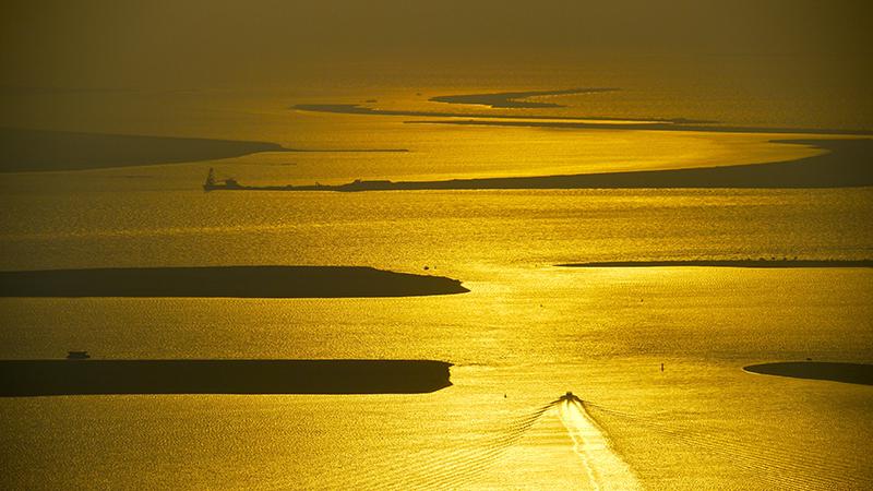 Persian Gulf sunset taken from Etihad Towers, Tower 2, 62nd floor Abu Dhabi, U.A.E.
