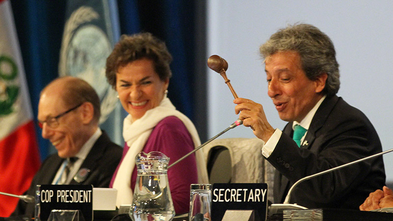 Figueres grins as Peru's environment minister Manuel Pulgar-Vidal signals agreement - and the end - of the 2014 Lima summit (Pic: IISD)