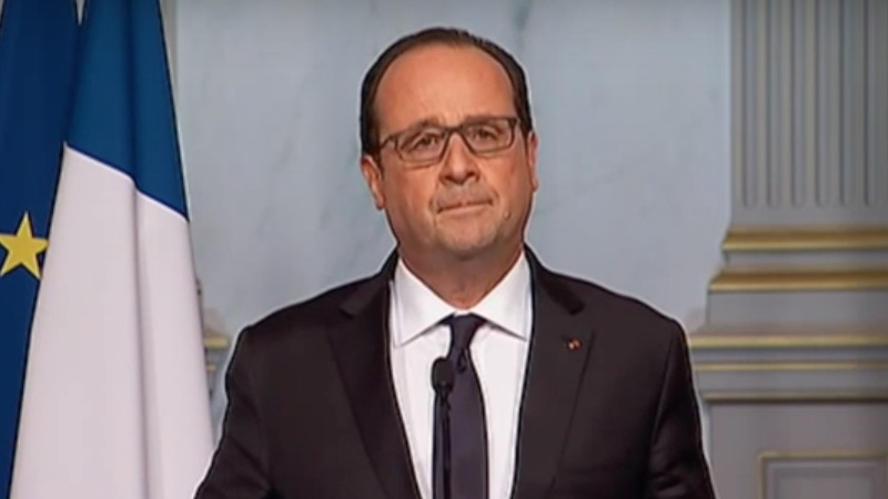French president Francois Hollande addressed the nation on Friday night as terror attacks continued across Paris (Pic: Screengrab)
