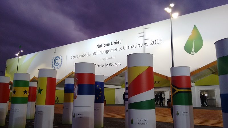 An exhibition of flags outside the COP21 entrance (Pic: Megan Darby)