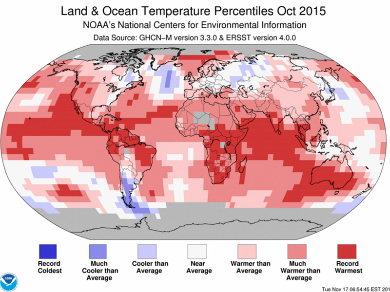 October 2015 was the hottest in 136 years (Pic: NOAA)