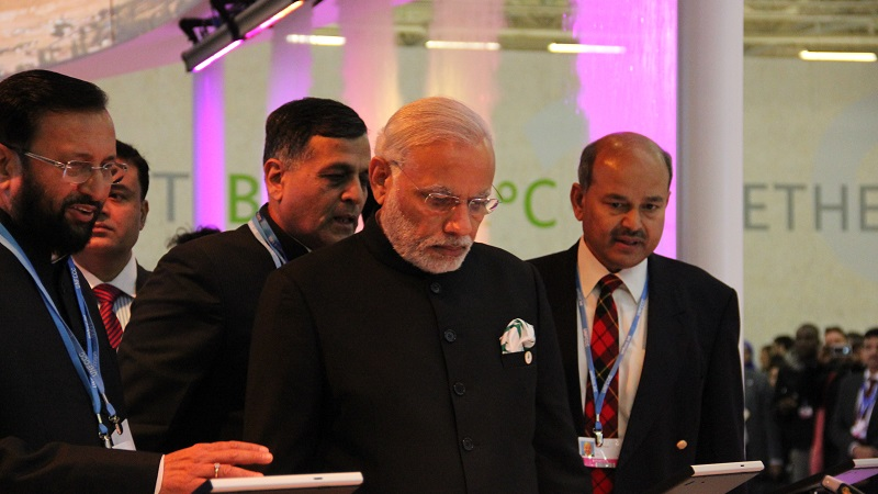 Prime minister Narendra Modi opens the India pavilion at COP21 (Pic: Avik Roy)