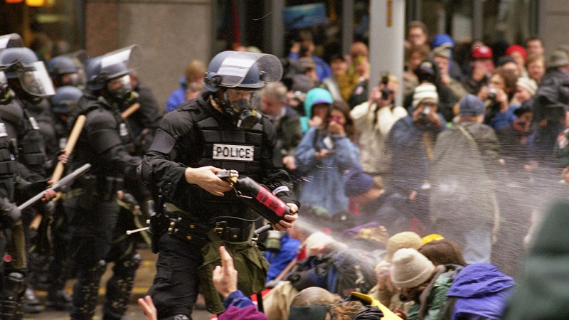 Protests turned ugly outside a WTO meet in Seattle, 1999, as activists and police clashed (Flickr/Steve Kaiser)