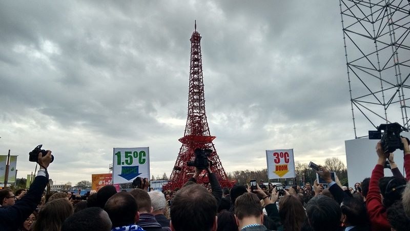 In Paris, campaigners rallied behind a 1.5C warming limit, but the science behind it is thin (Pic: Megan Darby)