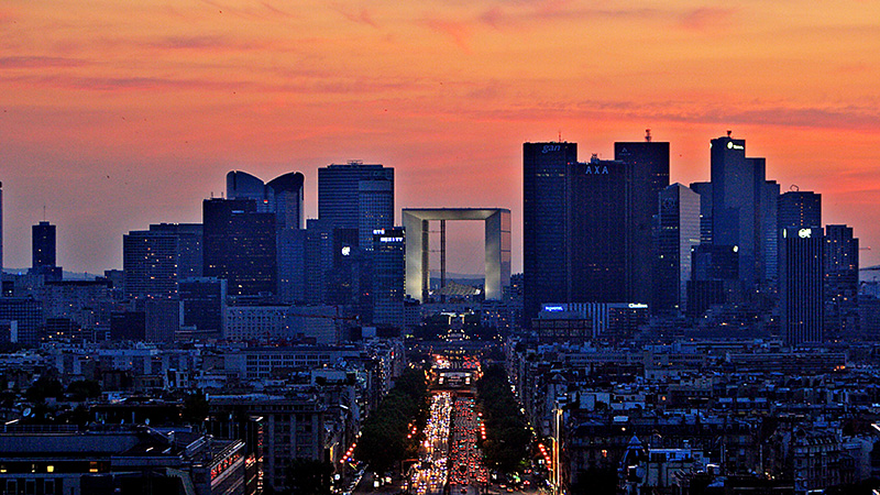 La Defense, Paris' financial district at sunset (flickr/ ehpien)