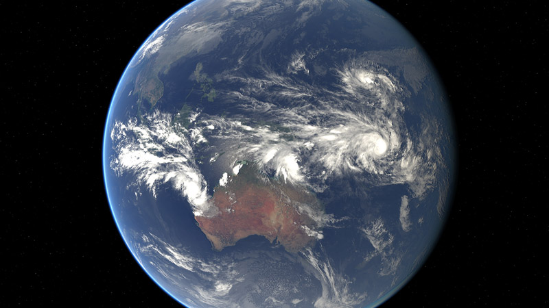 Composite image of tropical cyclones Nineteen, Nathan and Pam, generated at 09:00 UTC on 11 March 2015 (Pic: NASA)