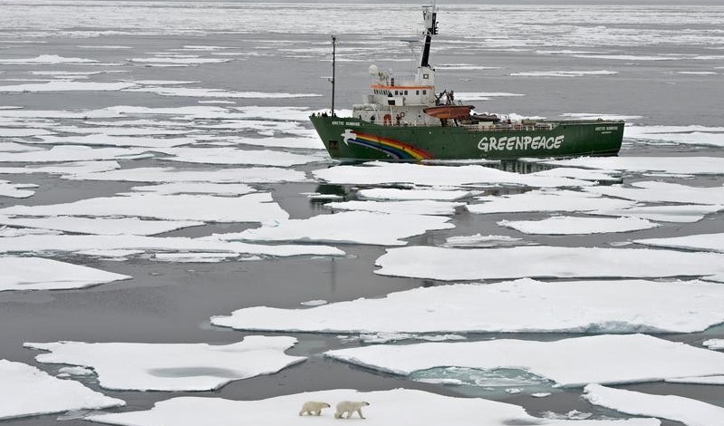 Arctic Sunrise was boarded by Russian agents after Greenpeace activists attempted to scale the Prirazlomnaya drilling platform on 18 September 2013 (Pic: Greenpeace)