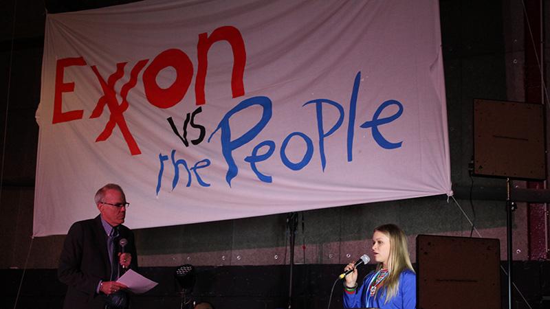 350.org founder Bill McKibben hears the testimony of Scandinavian activist, Jannie Staffansson in the Montreuil, Paris (credit: Alex Pashley)