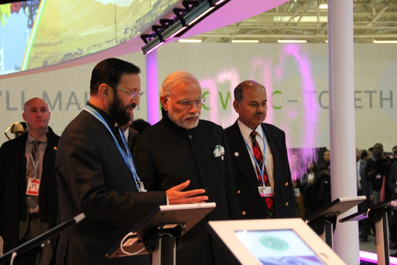 Prakash Javadekar with prime minister Narendra Modi at the India pavilion (Pic: Avik Roy)