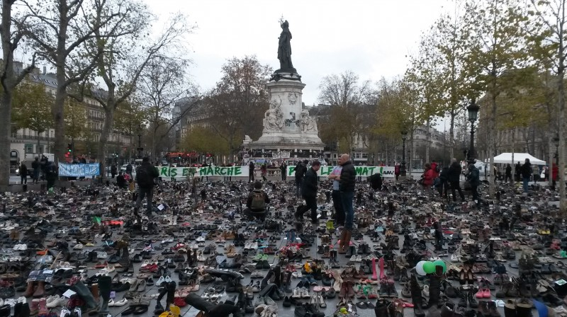 Thousands of pairs of shoes at Place de Republique represent those people who would have marched for a climate deal before the demonstrated was cancelled (Pic: Ed King)