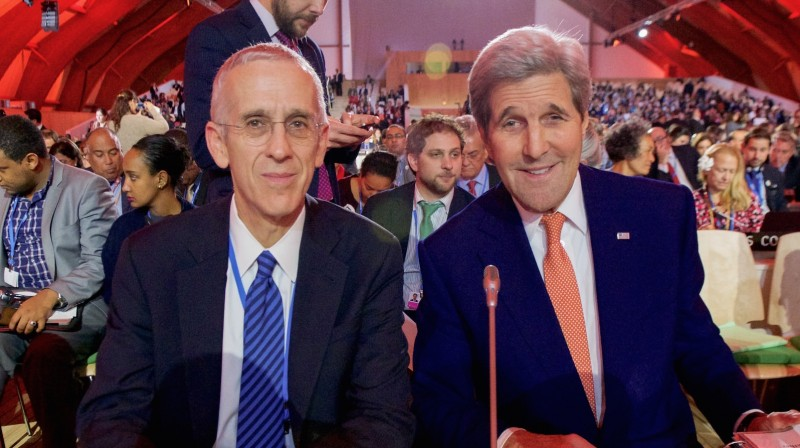 Lead US envoy Todd Stern (L) and US secretary of state John Kerry moments before a Paris climate deal was agreed (Pic: State Department/Flickr)