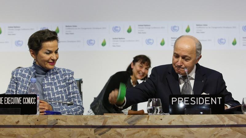 Laurent Fabius brings the gavel down on a Paris Agreement (Pic: IISD/Kiara Worth)