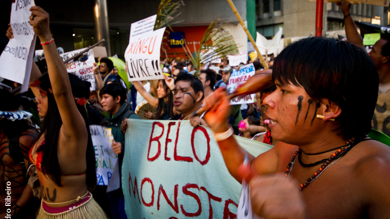 Indigenous protestors voice their opposition to the Belo Monte dam in 2011 (Flickr/ Pedro Ribeiro)