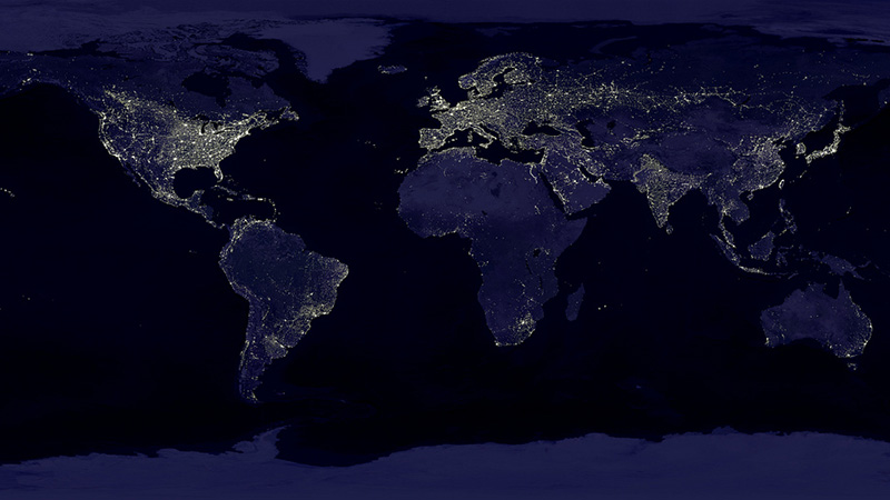 At night, while the rest of the world is illuminated with street lights, Ad=frica is dark (Pic: NASA/Flickr)