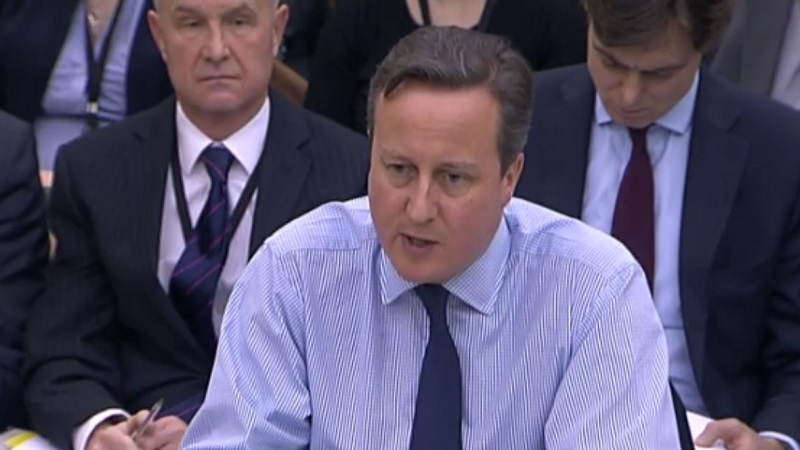 David Cameron gives evidence to a committee in the UK parliament (Screenshot, Parliament TV)
