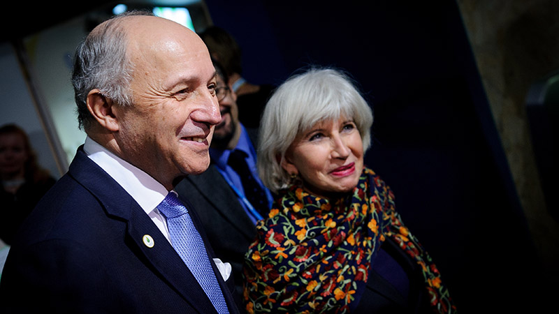COP21 president Laurent Fabius and Laurence Tubiana, his chief climate diplomat (Pic: COP21/Flickr)