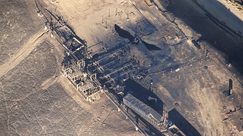 Aerial view of the blown out natural gas well, Aliso Canyon (Pic: Earthworks)
