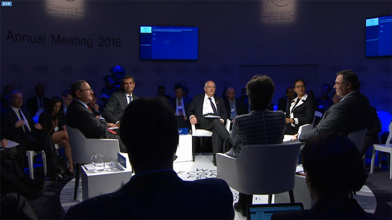 Patrick Pouyanne (far-right) at a panel on whether energy companies should be planning for a fossil fuel-free future (screengrab: World Economic Forum)