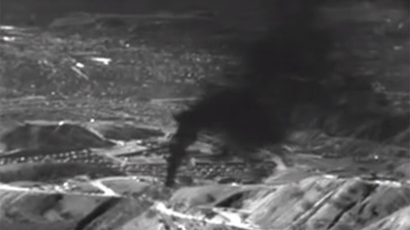 A still from infra-red footage shot by an Earthworks ITC-certified thermographer over the leak (Pic: EDF/You Tube)