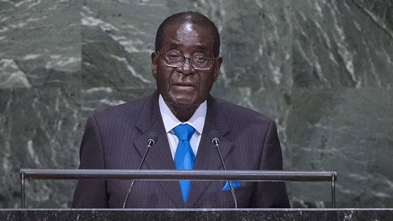 Zimbabwe president Robert Mugabe addresses the UN General Assembly in September 2015 (Pic: UN)