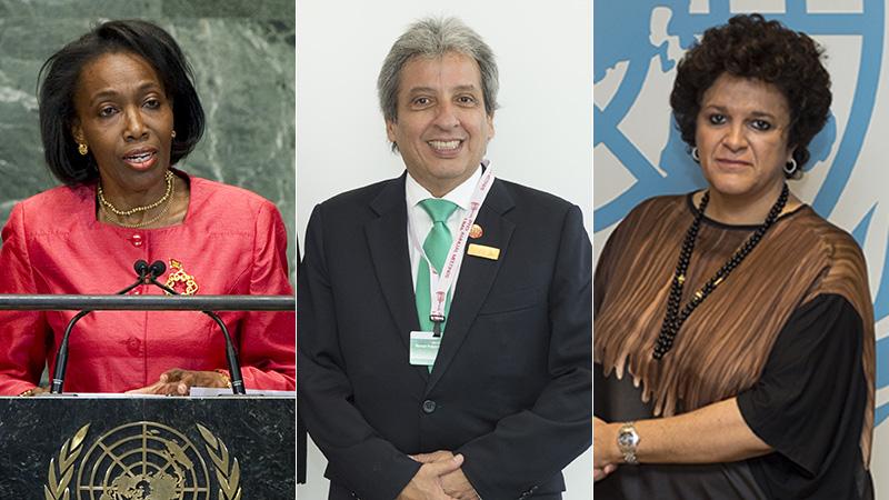 Grenada's Dessima Williams, Peru's Manuel Pulag Vidal and Brazil's Izabella Teixeira are potential candidates to replace Figueres (Pics: UN Photos/UNFCCC Flickr)