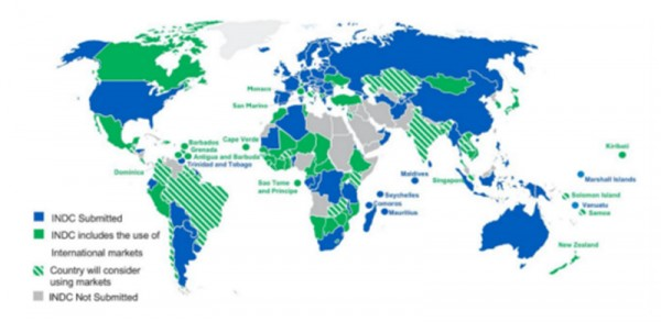 Map of climate pledges known as Intended Nationally Determined Contributions Source: International Emissions Trading Association