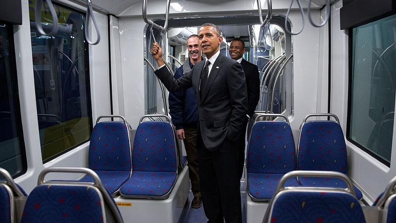 President Obama visiting a light rail system in St Paul, Minnesota (White House Flickr)