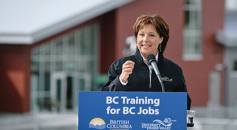 BC premier Christy Clark came to power in 2011 (Pic: University of the Fraser Valley/Flickr)