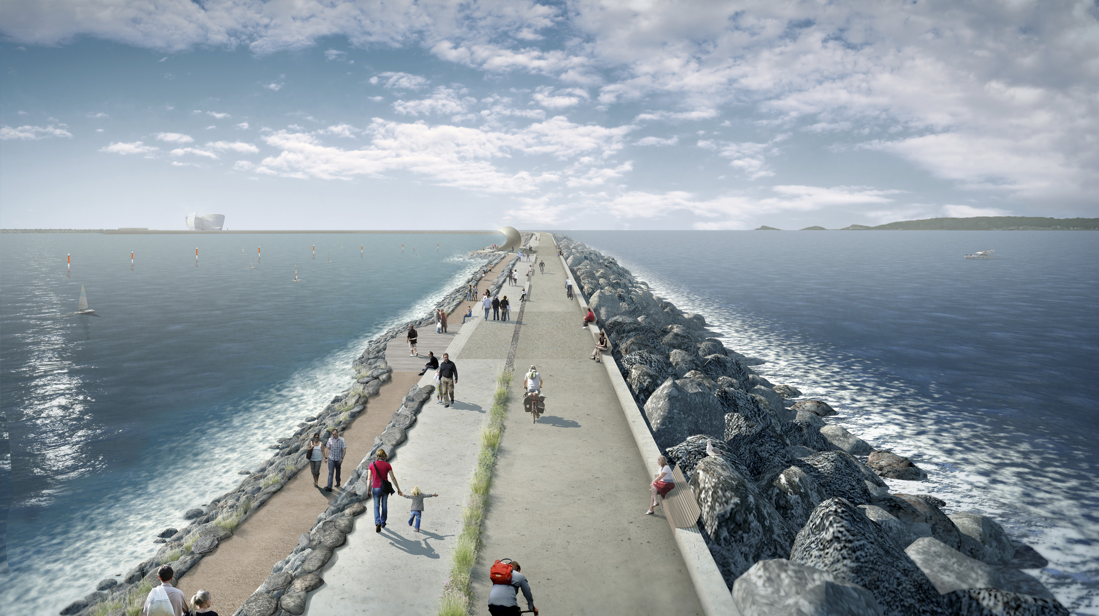 An artists impression of the Swansea Bay Tidal Lagoon project (credit: TLP)