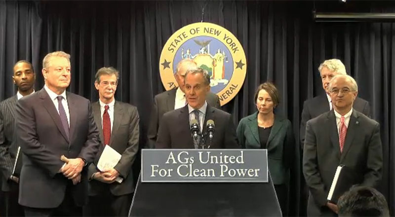 New York State Attorney General Eric T. Schneiderman addresses Tuesday's press conference