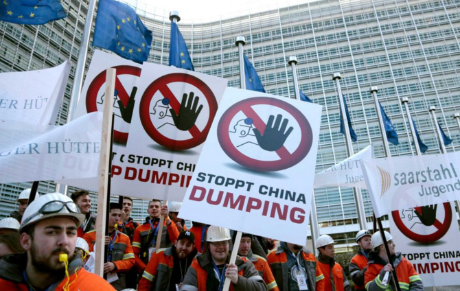 Workers and bosses march on Brussels in anti-dumping protest in February (Twitter: BusinessDay Online)