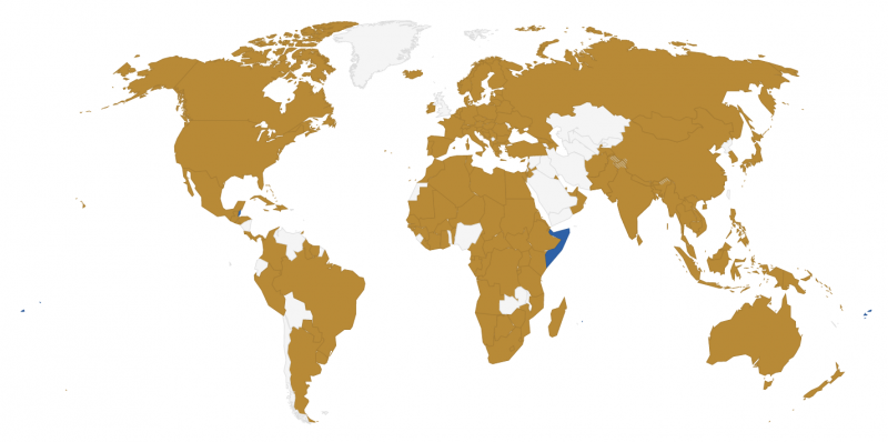 At time of writing, 177 countries have signed the deal (in khaki) and 15 ratified (in blue) (Source: Climate Analytics)