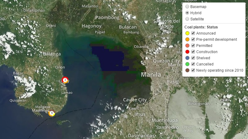 Coal plants under development in Bataan, Philippines (Interactive mapping by GreenInfo Network. Data: CoalSwarm)