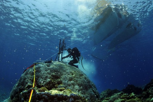 Divers extracting coral cores at Rowley Shoals, west of Broome in Western Australia. Source: Eric Matson, Australian Institute of Marine Science