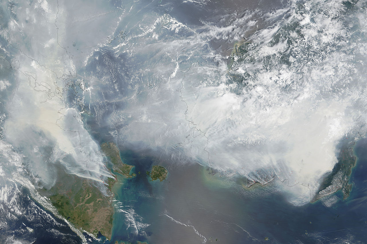 Smoke from the Indonesian provices of Kalimantan and South Sumatra drifts across the Malay peninsula in 2015. Source: Nasa