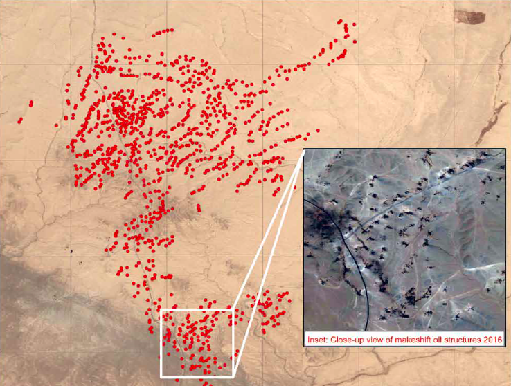 Red dots represent 1,098 new oil refining sites set up since 2012 at one site north of the Syrian city of Deir ez-Zor. Source: US Department of State/Pax