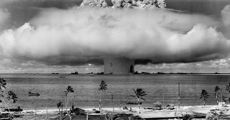 "The ""Baker"" explosion, a nuclear weapon test by the US military at Bikini Atoll, Micronesia, on 25 July 1946. Photo: United States Department of Defense"