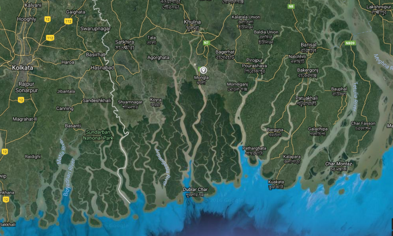The Sundarbans are shown in dark green in this map, with the proposed site of the coal power station to the northeast indicated by a grey icon. Image: Google maps