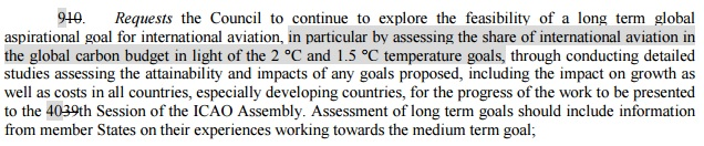 A draft text made reference to the global warming limits agreed in Paris