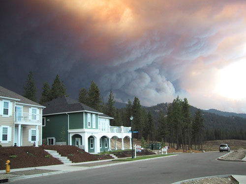 A large fire burned much of Okanagan Mountain Provincial Park in British Columbia, in 2003. 239 homes were destroyed. Photo: Cate Eales/Flickr