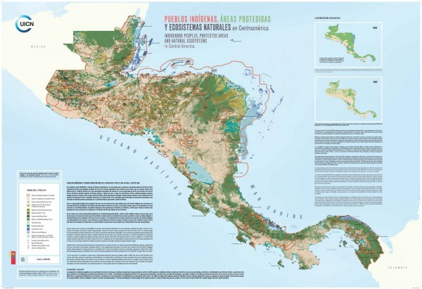 Map of Central America. Indigenous land marked in red. Source: IUCN