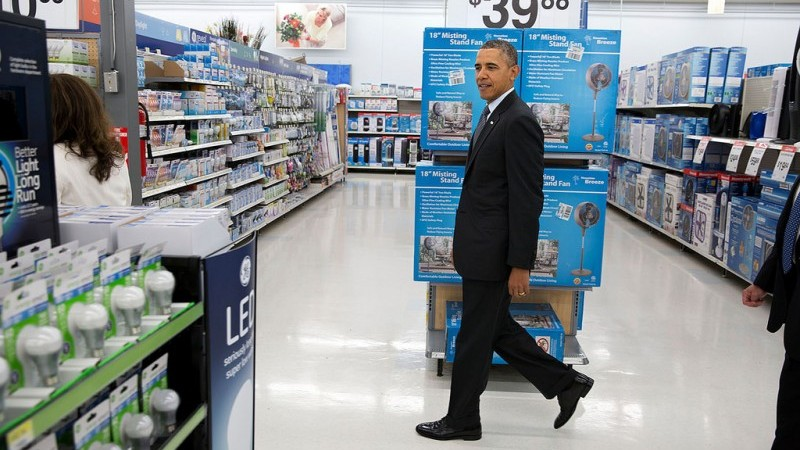 President Obama browses LEDs in Walmart (Official White House Photo by Pete Souza)