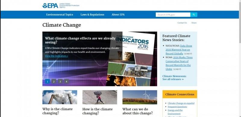 Screengrab: EPA climate change web page