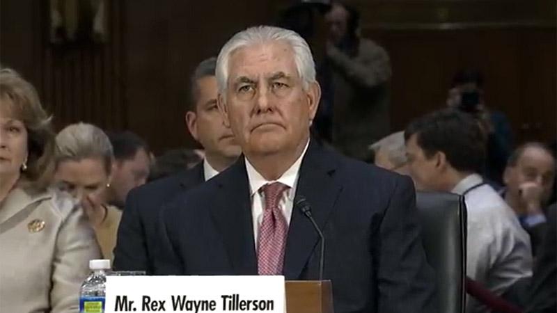 Retired Exxon Mobil boss Rex Tillerson will be Trump's top diplomat (Screenshot: C-Span)